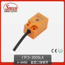 Sensor de Proximidade Indutivo (ITF3-3005LA) 6-36VDC Distância de Detecção de DC de Dois Fios 5mm