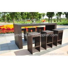 Garden Pe Wicker Furniture Bar Set