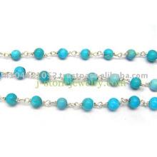 Chaîne en perles turquoise, chaînes turquoise en argent