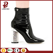 Crystal high heeled  short leather boots