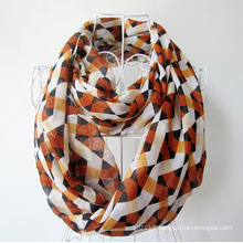 Woman Fashion Checked Printed Polyester Chiffon Infinity Scarf (YKY1101)
