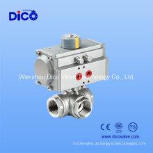 Dreiweggewinde pneumatisches Kugelventil für Wasserbehandlung