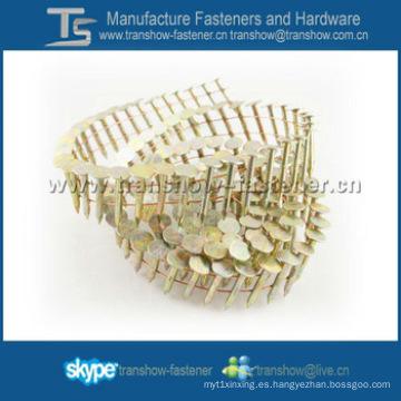 Clavos galvanizados de la techumbre de la bobina del alambre de 15 grados para el clavo de la bobina