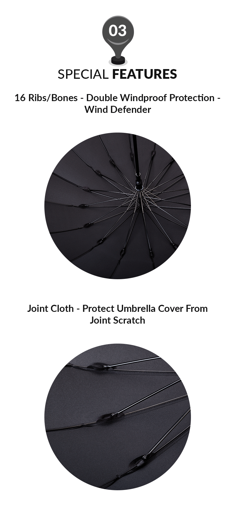 55cm 16ribs Auto Open Womens Straight Umbrella Protection