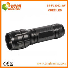 China Fabrik-Versorgung CE genehmigt justierbare Fokus 3Watt Aluminium beste CREE LED Taschenlampe mit 3 * AAA Batterie