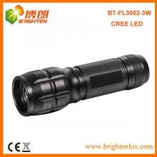 China Fábrica por encargo de alta potencia 3watt de aluminio Dimmable llevó linterna de zoom / antorcha