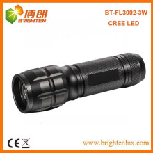 China Factory Supply CE Approved Adjustable Focus 3Watt Aluminum Best CREE LED Flashlight With 3*AAA Battery