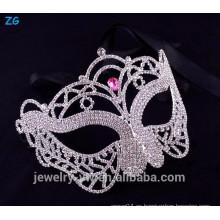 Máscara de fantasía de mascarada de cristal rosa, máscaras de mascarada de princesa cristal de fiesta de la ciudad