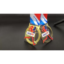 Antique gold 3D zinc alloy custom sports award marathon running China medals and trophies