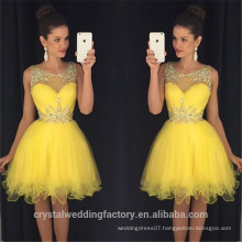 New Sexy Short Prom Dresses Sleeveless Side Front Knee Length Beads yellow cocktail dresses 2017 CWFc2448