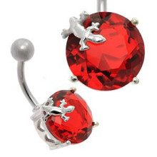 Large Jewel Silver&Steel Belly Bar Red Lizard