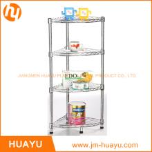 Estantería para baño de cromo, 4 estantes, Estante para almacenamiento de alambre, Estante para zapatos en rack de esquina (30L * 30W * 80H cm)