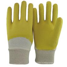 NMSAFETY 3/4 покрытием желтого хлопка резиновые перчатки / перчатки бесплатный образец латекса