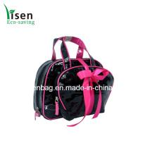 Novo design saco cosmético de PVC preto patente definido (YSCOS00-8313)
