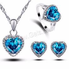 Singapour Chaîne en forme de coeur Micro Pave Cubic Zirconia Ensemble de bijoux en laiton bleu marine