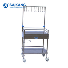 SKH032 Stainless Metal Medical Treatment Trolley With Drawers