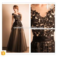 Elegantes reizvolles schwarzes Spitze-Entwurfs-Maxi Kleid Preto Vestido de Noite elegantes Abend-Kleid