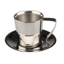 Taza de té aislada de pared de café doble