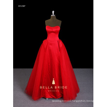 Hottest dippes neck princess waist red birthday dress for girl of 7 years old