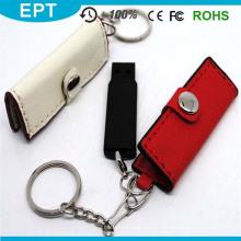 Movimentação do flash do USB da carteira de couro com anel chave (TL040)