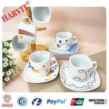 Tazas y platillos de café cuadrados modernos, Té de café de porcelana