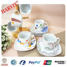 Tasses à café et soucoupes à la carré moderne, thé à café en porcelaine
