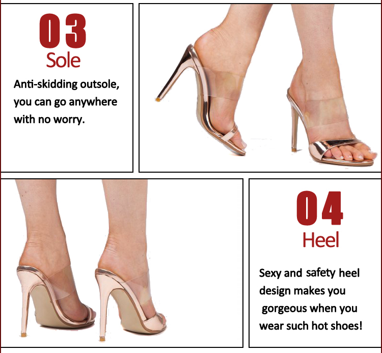 Women's Ankle open toe pvc PU Sandals