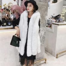 Conciso diseño invierno real piel de zorro chaleco mujer urbana con sombrero
