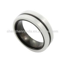 Vente en gros 2014 nouvelle mode en acier inoxydable de haute qualité anneau en céramique en noir et blanc du fabricant de bijoux