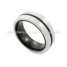 wholesale 2014 new fashion high quality stainless steel men black and white ceramic ring from jewelry manufacturer