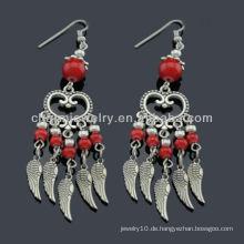 Handgefertigte antike silberne Art und Weise Roter Stein Ohrringe Vners SE-011 Rdrop Troddelohrringe groß