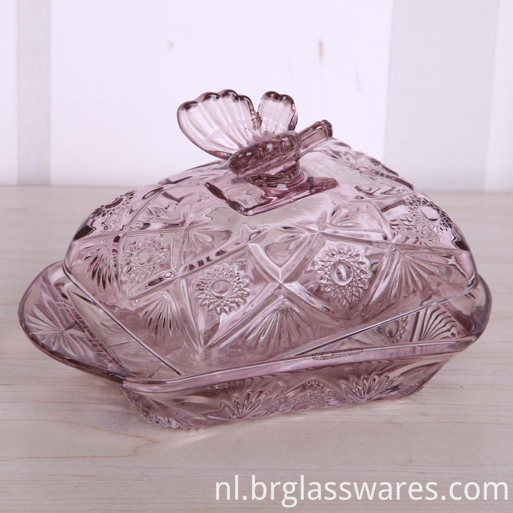 Embossed Glass Butterfly Shape Butter Dish With Lid