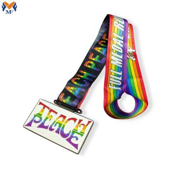Médaille d'arc-en-ciel en métal de ruban de médaille de victoire à vendre
