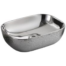 Silver Black Ceramic Handmade Art Basin for Bathroom
