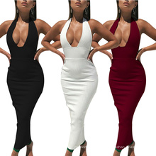 Superstarer Cheapest Product Halter Club Dresses Fashion Long Skirt Elegant Backless Lady Summer Dresses Women Party Stylish Sexy Dress