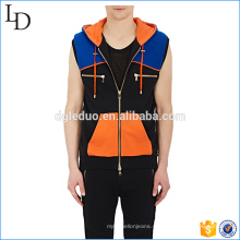 Colorblocked Cotton hombres cremallera sin mangas con capucha llano person