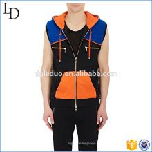 O Hoodie sem mangas do zíper dos homens do algodão de Colorblocked liso personalizou para venda
