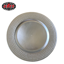 Silver Dots Plastic Plate with Metallic Finish