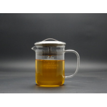 500ml Singlge Wall Hand Made Borosilicage Glass Teapot with Steel Lid