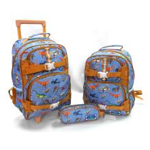 Boys Girls Trolley Primary School Backpacks Dinosaur Elementary School Bags With Wheels
