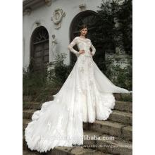 ZM16005 Custom Einzigartige Brautkleider Brautkleider Mit High Neck Teure Spitze Appliqued Romantische Klassische Brautkleider
