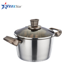5 layer capsuled bottom stainless steel soup pot with glass lid