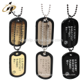 Hot products custom logo military metal blank dog tag with necklace