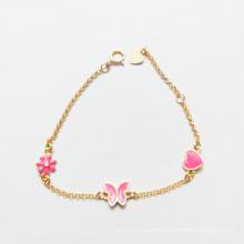 925 Sterling Silver Enamel Plated Heart Butterfly Bracelet Jewelry