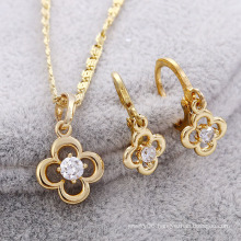 Fashion Nice Zircon Flower -Shaped 14k Gold-Plated Jewelry Set for Party or Wedding-62345