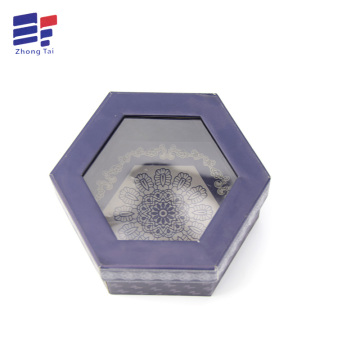 Europe style for Cover And Tray Electronics Carton Hexagon paper window gift box export to Poland Importers