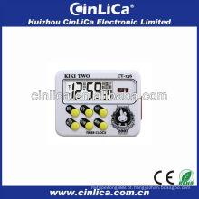 Temporizador de contagem decrescente de LCD com relógio CT-136