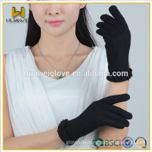 2015 Fashion Women Mono Black Wool Gloves with a row of black Shivering on the Cuff