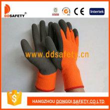 Gants de latex gris de revêtement acrylique de fluorescence, froissé fini (DKL441)