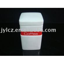 weißer quadratischer keramischer Tee, Kaffee, Zuckerdose